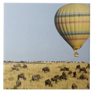 Kenya, Masai Mara. Tourists ride hot air balloon Large Square Tile