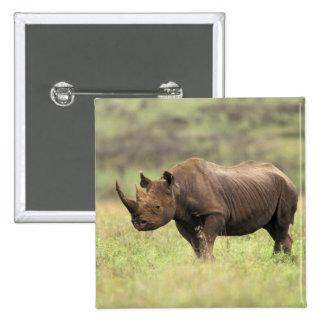 Kenya, Nairobi National Park. Black Rhinoceros 2 Inch Square Button