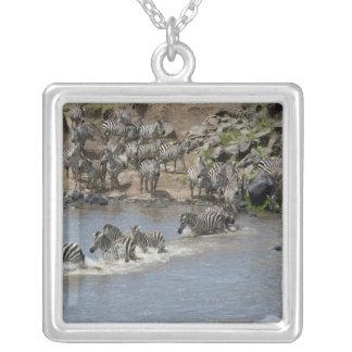 Kenya, No Water No Life Mara River Expedition, 3 Square Pendant Necklace