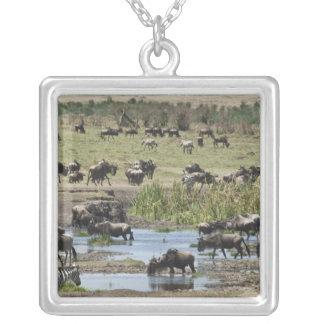 Kenya, No Water No Life Mara River Expedition, 4 Square Pendant Necklace