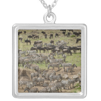 Kenya, No Water No Life Mara River Expedition, 5 Square Pendant Necklace