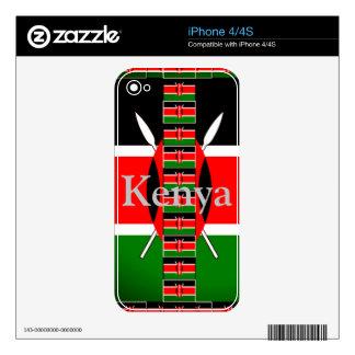 Kenya on Lovely Black Red Green Background Skin For iPhone 4S