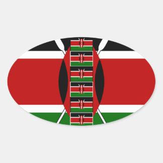 Kenya Seamless Flags border frames Oval Sticker