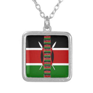 Kenya Seamless Flags border frames Sterling Silver Necklace