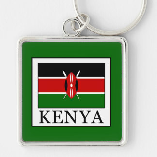 Kenya Silver-Colored Square Keychain