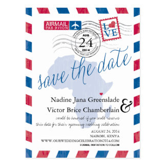 KENYA South Africa Airmail Wedding Save The Date Postcard