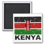Kenya Vintage Flag 2 Inch Square Magnet