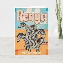 Kenya Vintage Travel Poster Holiday Card