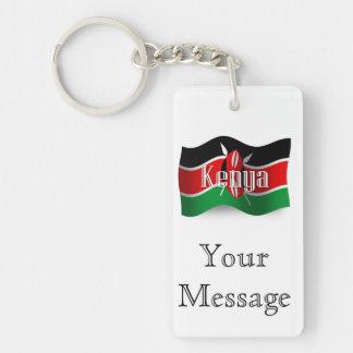 Kenya Waving Flag Double-Sided Rectangular Acrylic Keychain