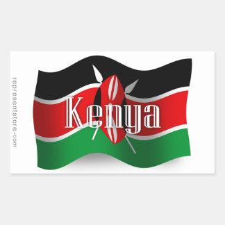 Kenya Waving Flag Rectangular Sticker