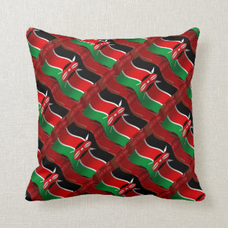 Kenya Waving Flag Throw Pillow
