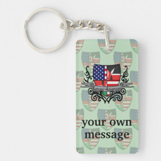 Kenyan-American Shield Flag Double-Sided Rectangular Acrylic Keychain