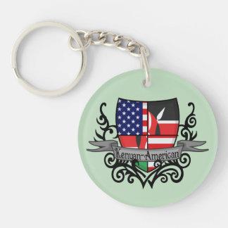 Kenyan-American Shield Flag Double-Sided Round Acrylic Keychain