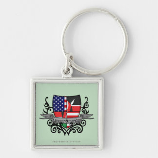 Kenyan-American Shield Flag Silver-Colored Square Keychain