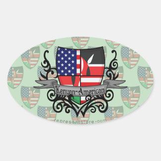 Kenyan-American Shield Flag Oval Sticker