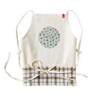 Kenyan apron with clover leaves on pink
