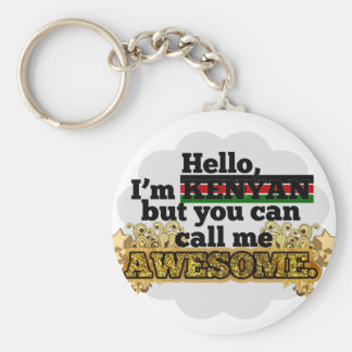 Kenyan, but call me Awesome Basic Round Button Keychain