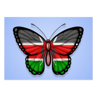 Kenyan Butterfly Flag on Blue Large Business Card