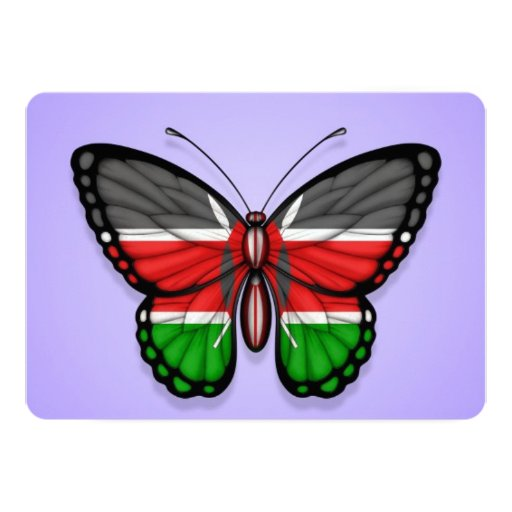 Kenyan Butterfly Flag on Purple 5x7 Paper Invitation Card