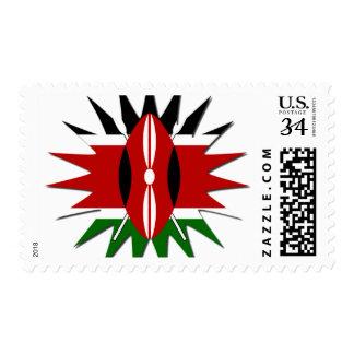 Kenyan Flag Description Postage Stamp