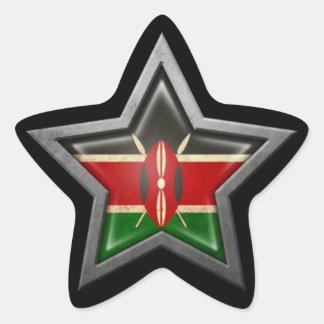 Kenyan Flag Star on Black Star Sticker