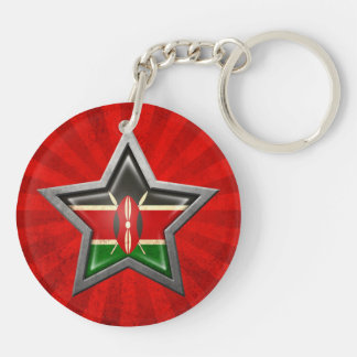 Kenyan Flag Star with Rays of Light Double-Sided Round Acrylic Keychain