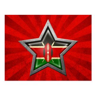 Kenyan Flag Star with Rays of Light Postcard
