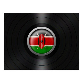 Kenyan Flag Vinyl Record Album Graphic Postcard