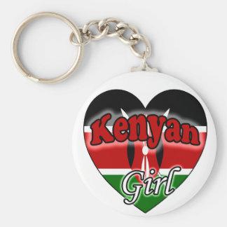 Kenyan Girl Basic Round Button Keychain