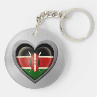 Kenyan Heart Flag Stainless Steel Effect Double-Sided Round Acrylic Keychain
