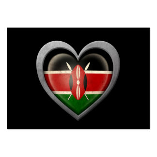 Kenyan Heart Flag with Metal Effect Large Business Card