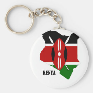 Kenyan Map and Flag Basic Round Button Keychain