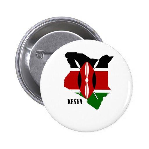 Kenyan Map and Flag Pinback Buttons
