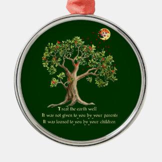 Kenyan Nature Proverb Round Metal Christmas Ornament