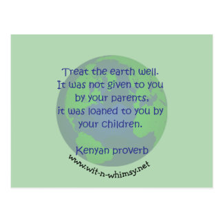 Kenyan proverb Earth Day buttons & gifts. Postcard