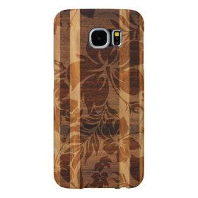 Keokea Beach Faux Wood Surfboard Samsung Galaxy S6 Cases