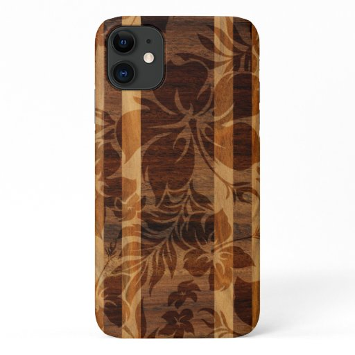 Keokea Beach Faux Wood Surfboard iPhone 11 Case