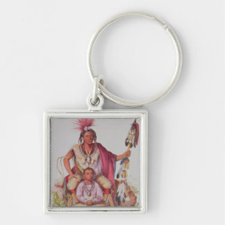 Keokuk or 'Watchful Fox', Chief of the Sauks Silver-Colored Square Keychain