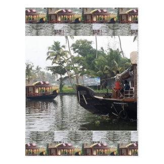 KERALA India RIVER Boats Postcard