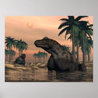Keratocephalus dinosaurs - 3D render Poster