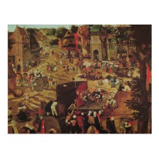 Kermesse con el teatro y la procesión postales