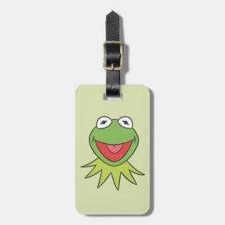 Kermit la cabeza del dibujo animado de la rana etiqueta de equipaje