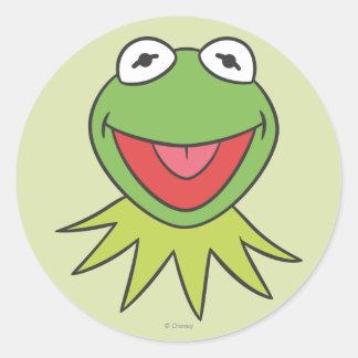 Kermit la cabeza del dibujo animado de la rana pegatina redonda