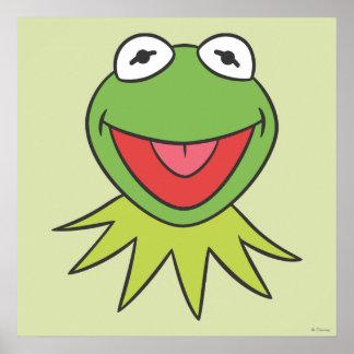 Kermit la cabeza del dibujo animado de la rana póster