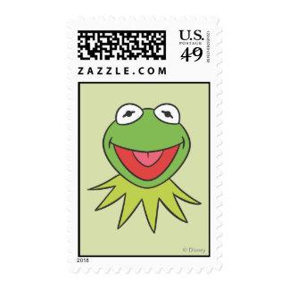 Kermit la cabeza del dibujo animado de la rana sello