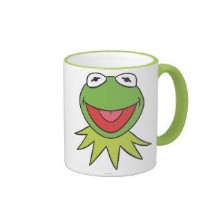 Kermit la cabeza del dibujo animado de la rana taza
