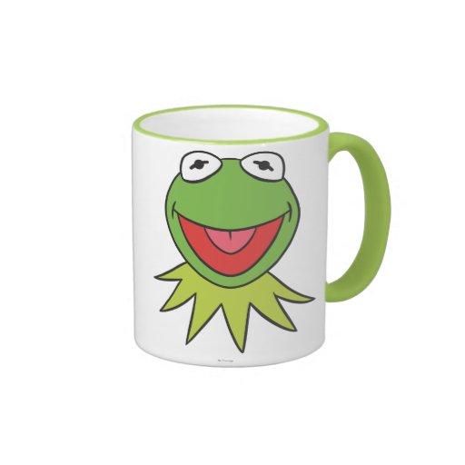 Kermit la cabeza del dibujo animado de la rana taza de dos colores