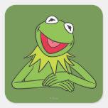 Kermit la rana calcomanía cuadrada
