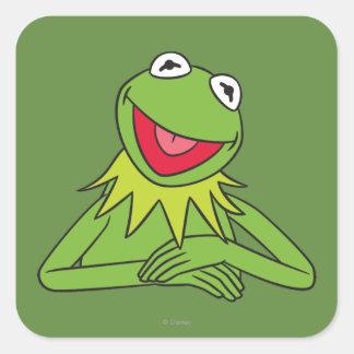 Kermit la rana pegatina cuadrada