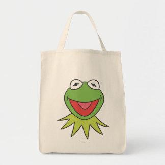 Kermit the Frog Cartoon Head Grocery Tote Bag